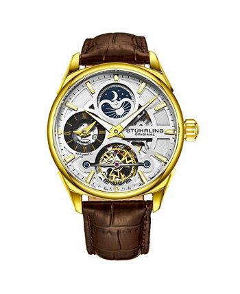 Мужские коричневые часы с кожаным ремешком 43мм Stuhrling