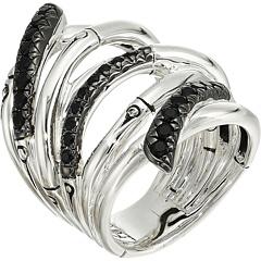 Бамбуковое лавовое очень широкое кольцо с черным сапфиром JOHN HARDY