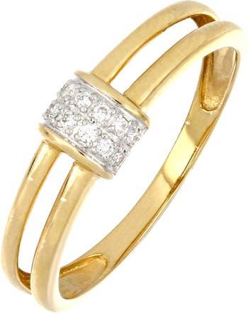 Кольцо с двойным стержнем и бриллиантом из 18-каратного золота - 0,07 Bony Levy