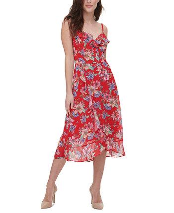 Floral-Print Midi Dress Kensie