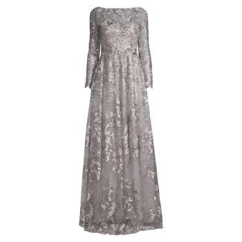 Вечернее платье с цветочной аппликацией MAC DUGGAL
