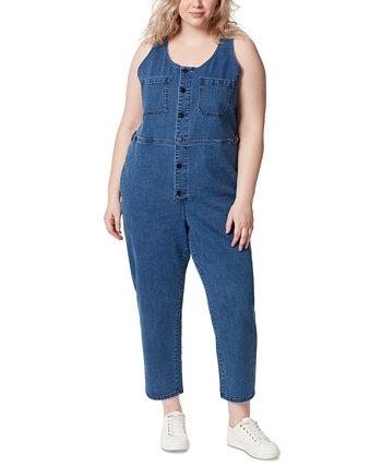 Frayed Trendy Plus Size Denim Jumpsuit FRAYED