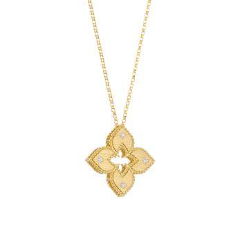Венецианская принцесса из желтого золота 18 карат и усилителей; Ожерелье с бриллиантовой подвеской Roberto Coin