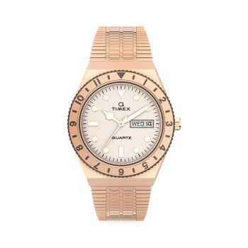 Q Timex Rose Goldtone Stainless Steel Bracelet Watch Timex