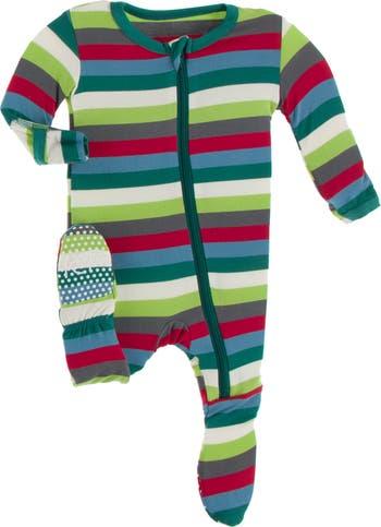 Stripe One Piece Footed Pajamas KicKee Pants