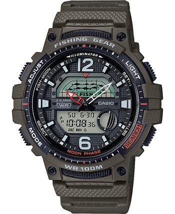 Мужские цифровые рыболовные снасти Зеленые часы с ремешком из смолы 48мм Casio