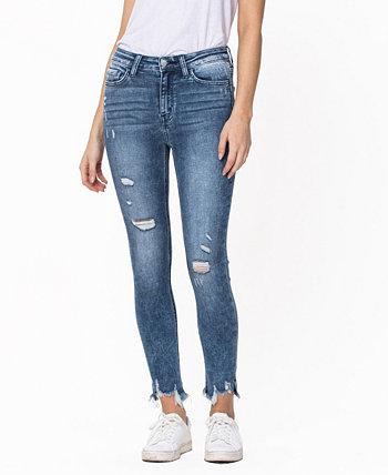 Women's High Rise Uneven Fray Hem Crop Skinny Jeans FLYING MONKEY