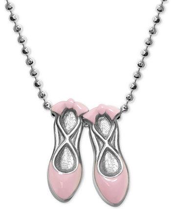 Розовые эмалированные балетные туфли 16-дюймовое ожерелье с подвеской из стерлингового серебра Alex Woo