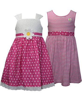 Комплект из 2 розовых и белых сарафанов для маленьких девочек Blueberi Boulevard