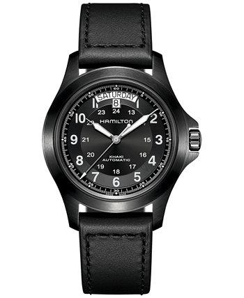 Мужские швейцарские автоматические часы цвета хаки Field King с черным кожаным ремешком 40 мм Hamilton