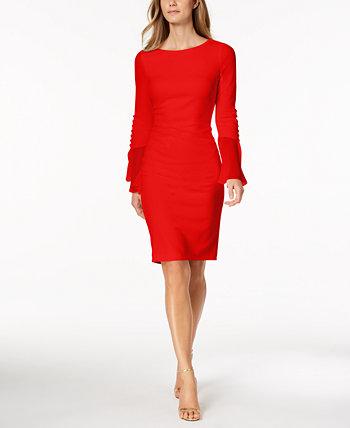 Платье-футляр из шифона с расклешенными рукавами Calvin Klein