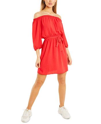 Платье с открытыми плечами и поясом Quiz