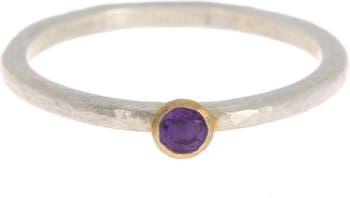 Складное кольцо с аметистом из золота 24 карат и стерлингового серебра с аметистом - Размер 6.5 Gurhan
