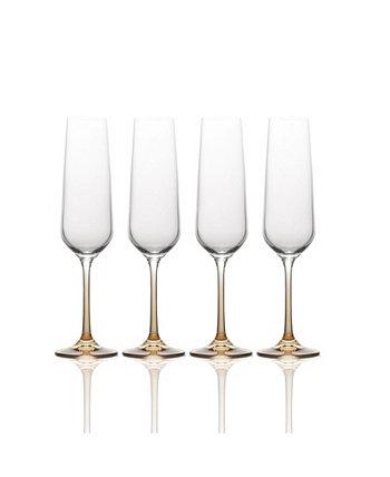 Бокалы для шампанского Gianna Ombre с янтарным флейтой, набор из 4 шт. MIKASA