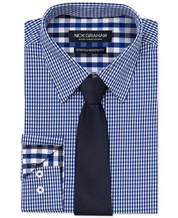 Мужская облегающая мини-рубашка в мелкую клетку с эластичным принтом и темно-синий галстук-галстук Nick Graham