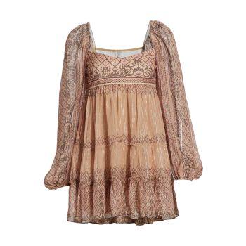 Многослойное мини-платье с объемными рукавами HEMANT & NANDITA