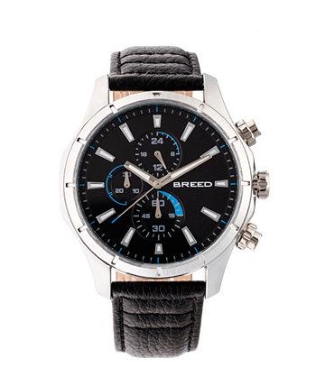 Кварцевые часы Lacroix с серебристым и черным часами из натуральной кожи 47 мм Breed