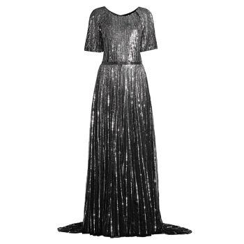 Вечернее платье трапеции с вертикальными пайетками и рукавами-бабочки MAC DUGGAL