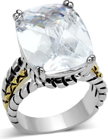 Обручальное кольцо с двухцветным витым ремешком CZ Stone Covet