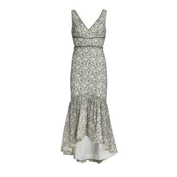 Миди-платье с V-образным вырезом и цветочной вышивкой ML Monique Lhuillier