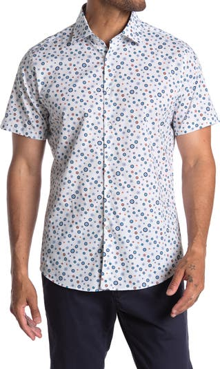 Тканая рубашка с короткими рукавами и круглым принтом Stone Rose