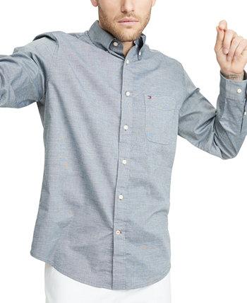 Мужская эластичная однотонная рубашка классического кроя для больших и высоких капоте Tommy Hilfiger