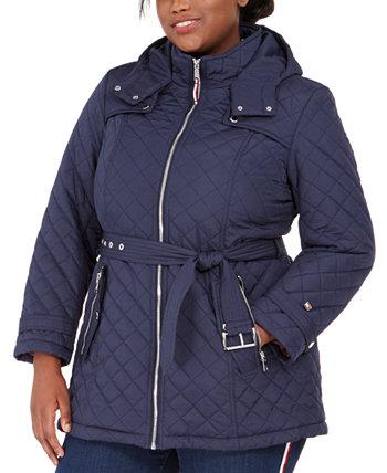 Водонепроницаемое стеганое пальто больших размеров с поясом и капюшоном Tommy Hilfiger