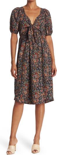 Платье миди с объемными рукавами и завязками спереди Collective Concepts