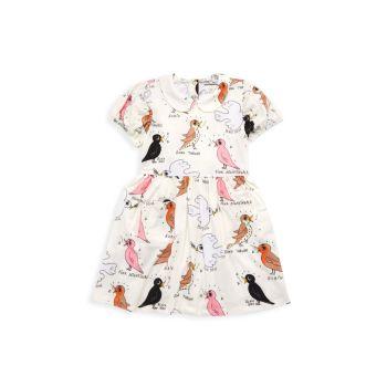Маленькая девочка & amp; Платье Girl's Bird Watching с пышными рукавами и принтом Mini rodini