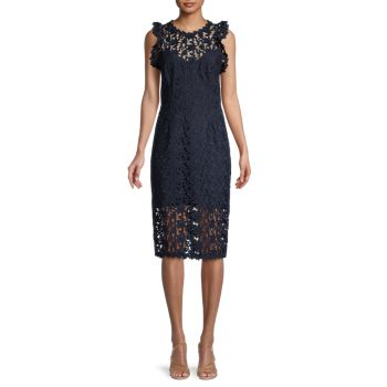 Lace Illusion-Neck Dress Halston Heritage