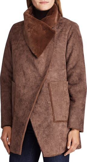 Faux Shearling Drape Faux Suede Jacket LAUREN Ralph Lauren