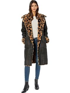 Пальто миди из искусственной замши с краклеем Avec Les Filles