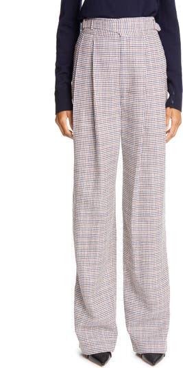 Check Wide Leg Silk Blend Pants Adam Lippes