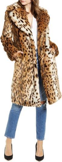 KENDALL + KYLIE Пальто из искусственного меха с леопардовым принтом KENDALL AND KYLIE