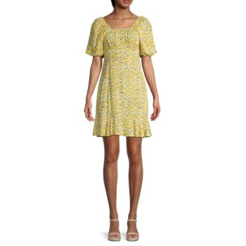 Платье с пышными рукавами и цветочным принтом STELLAH