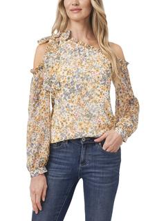 Long Sleeve One Shoulder Multi Floral CeCe
