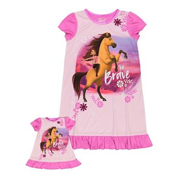 Girls 6-10 Spirit Be Brave Nightgown & Matching Doll Nightgown Licensed Character