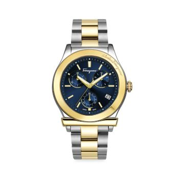 Двухцветные часы с браслетом из нержавеющей стали Salvatore Ferragamo