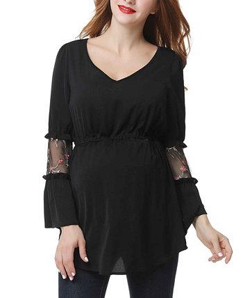 Селестия вышитая сетка блузка для беременных Kimi + kai