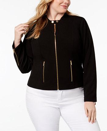 Эластичная куртка с молнией спереди больших размеров Lux Calvin Klein