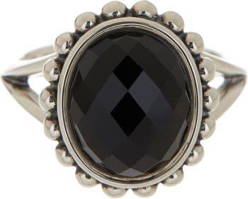 Кольцо Maya с овальным ониксом из стерлингового серебра - Размер 7 LAGOS