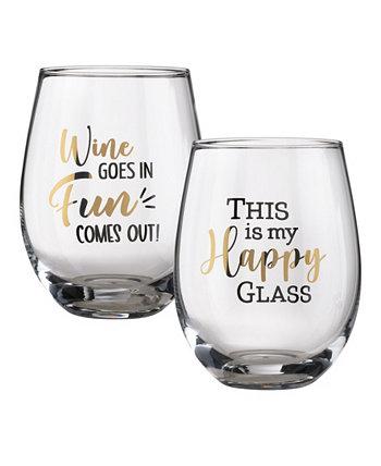 Набор бокалов для вина с забавными высказываниями, набор из 2 шт. Lillian Rose