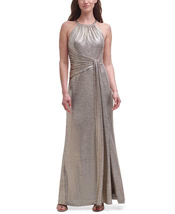 Платье с металлизированным вырезом на шее Eliza J