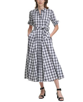 Клетчатое макси-платье с поясом Calvin Klein