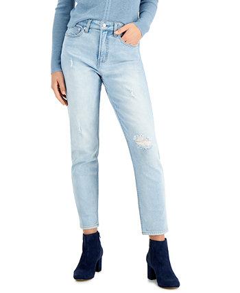 Рваные прямые джинсы с высокой посадкой OAT