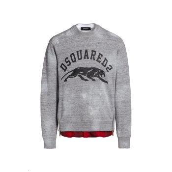 Check Print Layered Crewneck Sweatshirt DSQUARED2