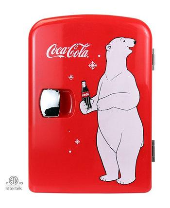 Переносной термоэлектрический мини-холодильник на 6 банок Coca-Cola Polar Bear с подогревом, 4 л / 4,2 кварты, 12 В постоянного тока / 110 В переменного тока для дома, общежития, автомобиля, лодки, напитков, закусок, средств по уходу за кожей, косметики,  Koolatron