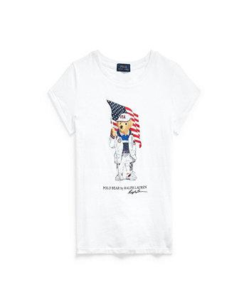 Big Girls Team USA Polo Bear Cotton Jersey T-shirt Ralph Lauren