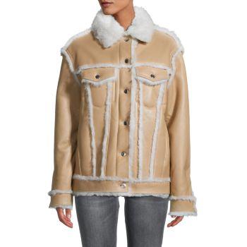 Kwood Shearling-Trim & amp; Кожаная куртка из овчины IRO