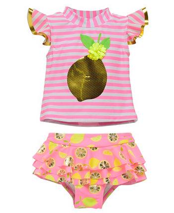 Набор из 2 штук Rashguard для новорожденных девочек с ярким лимонным рисунком и блестками Wetsuit Club